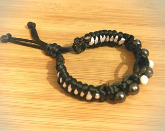 black and white shambhala style bracelet