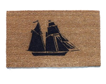 Pirate ship doormat- Tall Clipper ship The Pride of Baltimore- Hand Painted door mat