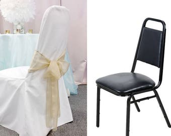 15 CLEARANCE Elegant white polyester Chair Covers with 15 silver sashes