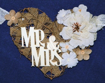 Burlap Heart Mr & Mrs. Burlap 9 Ft Grapevine Heart with Lace, Burlap and Linen Flowers Backdrop for Wedding, Swag, Banner Bride and Groom