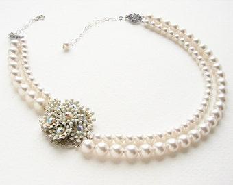 Vintage bridal necklace wedding jewelry vintage white enamel flower statement necklace, vintage wedding jewelry,bridal pearl necklace