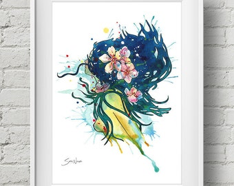 Beach Goddess : print mermaid art nouveau watercolor painting