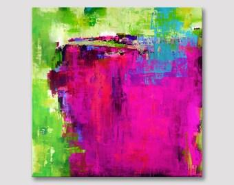 XL vierkant moderne beeldende kunst, abstracte kunst, originele kunst extra grote abstracte schilderkunst, grote acryl op gespannen doek veelkleurige illustraties