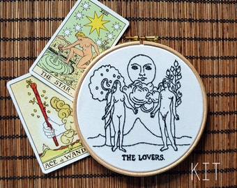 """Embroidery Kit """"Tarot Card The Lovers"""""""