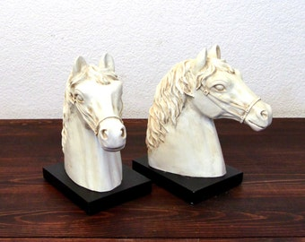 Vintage White Horse Head Book Ends with Black Bases