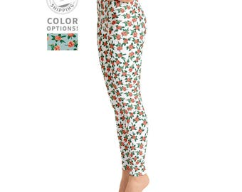White & Pink Rose Leggings | Floral Yoga Leggings | High Waisted Leggings | Yogi Pants | Yogi Gift | Yogawear | Yogagear | Loopy Jayne