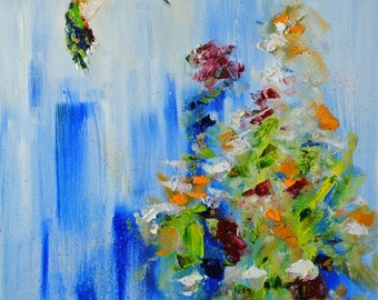Hum-FINE ART PRINT Abstract Impressionism Contemporary Hummingbird Oil Painting
