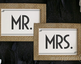 Mr. and Mrs. Signs - Wedding Reception Sign, Table Signage - For Frames or to Hang from Chairs - Matching Art Deco Style Numbers Avail SS10