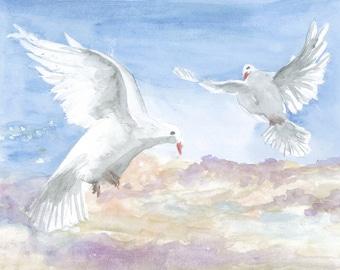 Doves. Art Print of Original Watercolor painting. Handmade artwork. Realistic painting.