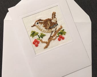 Stitched folded card showing a sparrow