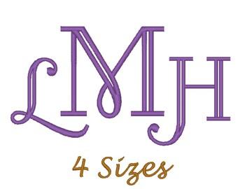 Monogram Font Embroidery design. (4 sizes)