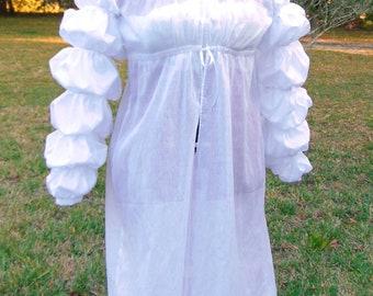 Custome Regency Era Under Dress with Mameluke Sleeves. Hand Stitched. Featherweight muslin.
