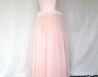 Lace Dress, tulle wedding dress, Wedding dress, simple wedding dress, peach dress, lace dress, elegant white lace dress, tulle gown, pink
