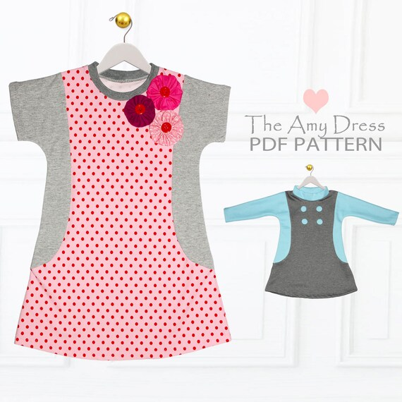 Girls Dress patterns pdf, Tshirt Dress Pattern, Childrens Sewing ...