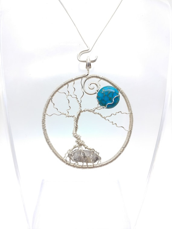 Tree-of-Life Necklace | Full Moon Pendant | Sterling Silver Tree-of-Life Wire Pendant | Herkimer Diamond | Pyrite Turquoise | READY TO SHIP