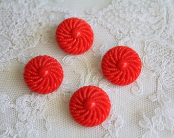 4 vintage red glass buttons with shank in a swirling design, 18 mm, 11/16 inch wide