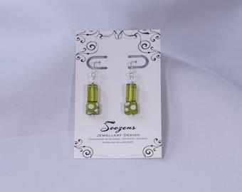 Sterling SIlver green glass earrings
