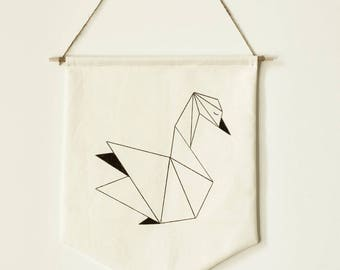 Decorative banner / flag Swan inspired origami - wall decor
