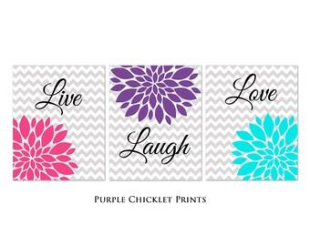 Live Laugh Love Art Flower Bursts Set Gray Chevron Prints Purple Pink Aqua Colorful Room Decor Nursery Room Art for Kids Room 3-8x10 (245)
