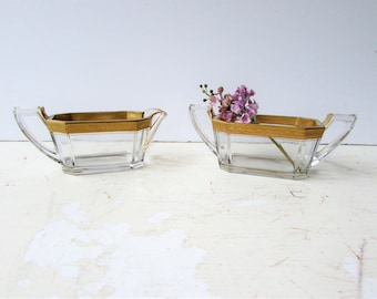 Vintage Glass Art Deco Creamer and Sugar Bowl - Gold Banded - Gold Rimmed - Art Deco - Gold Accented - Geometric Shape - Trophy Handles