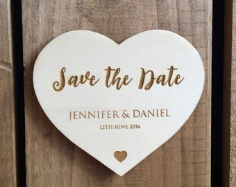 Engraved Wooden 'Save the Date' Love Heart // 90 x 77mm // Wedding Invitation