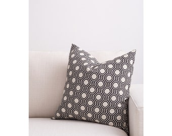 Black - Beige Fully Washable Complete Pillow designed by Jo Alcorn