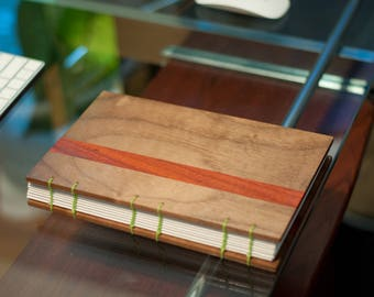 Wood Cover Journal with Coptic Stitch Binding