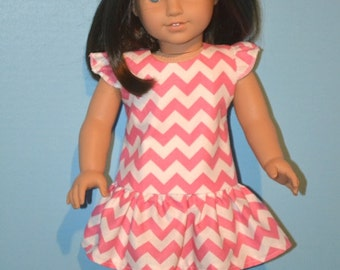 """Pink Chevron American Made Dress Fits 18"""" Girl Doll-Sweet Summer Print with Flutter Sleeves-Pink Shoes Optional-Fun Summer Doll Dress!"""