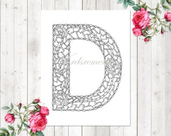 Adult Coloring Pages Letter D Page Alphabet Printable Kids Instant Digital Download