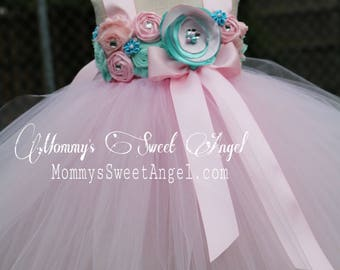 Flower girl tutu dress. Pink and mint tutu dress. Flower girl dress. Birthday tutu dress. Pageant tutu. More colors available.