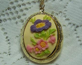Floral Cameo Locket, Hibiscus Cameo Locket, Spring Flower Bouquet, Garden Wedding, Pink, Green, Purple, Yellow, Cream Flowers, Hibiscus