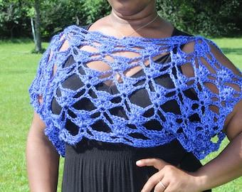 Royal Blue Crochet Crop Top Cover-up - Summer Top - Handmade