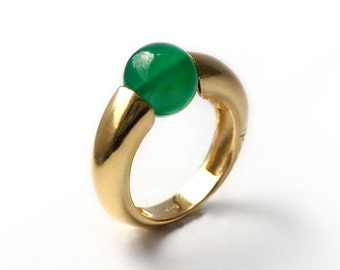 gold ring gemstone, Green Agate ring, Simple ring, Big stone ring, Gold Solitaire green ring, Unique green ring, Stone ring