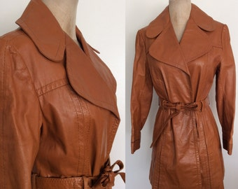 1970's Tan Leather Belted Coat Vintage Jacket Size Medium Large by Maeberry Vintage