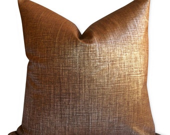 Metallic Robert Allen Alchemy Pillow Cover in Penny - SAME Fabric BOTH Sides - Invisible Zipper