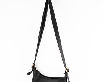 Black Vintage Coach Crossbody | Small Leather Handcrafted Coach Purse