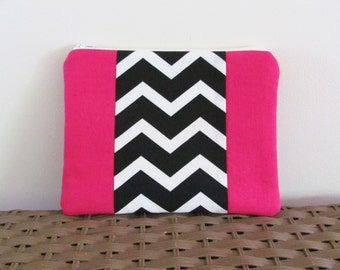 Hot pink cosmetic pouch, pink zippered makeup bag, black white chevron zippered pouch, pink toiletries bag, travel bag, fuschia travel pouch