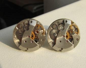 Steampunk Cufflinks vintage watch movements Mens Cuff Links Birthday gift for men Gift for Him mens gift ideas Steampunk men