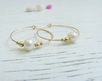 Mother Day Sale - Pearl hoops - Hoop hoops - Hoop earrings - Dainty pearl earrings - Pearl hoops earrings - Fresh water pearl earrings