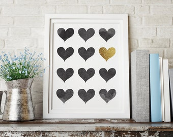 Heart Art, Printable Art, Housewarming Gift, Heart Print, Instant Download, Home Decor, Black and White Print, Wall Art Prints, Love Art