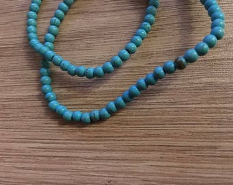 set of 50 beads 4 mm turquoise natural