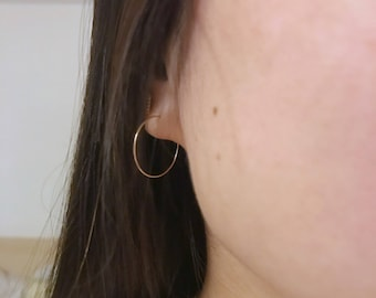 Small Gold Hoop Earrings / Thin, Delicate, Simple / Anabel Nove