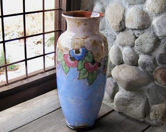 Large Royal Doulton Pottery Vase, Tall Vase, 14 Inches, Early 20th Century, Arts and Crafts Design, Antique Art Pottery