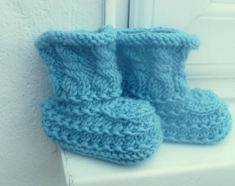 Baby Knit Pattern Booties Boots Shoes - Teal Textured Baby Boots (3 Sizes 0 - 12 mths)