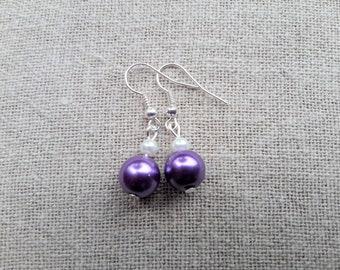 Purple bridal earrings purple Pearl Earrings Stud Earrings wedding earrings purple