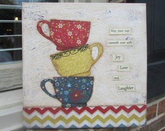 Adorable Stacked Cups 12 x 12 Mixed Media Art Canvas