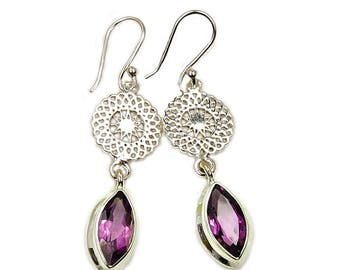 Star Amethyst Earrings Protection Stone Sterling Silver Dangle Earrings AF368 The Silver Plaza