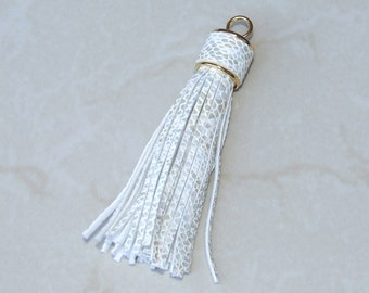 Tassel, White and Gold Leather Tassel, Tassel Pendant - 3 inch Tassel