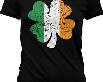 Four Leaf Irish Shamrock, St. Patrick's Day Juniors T-shirt, NOFO_00096