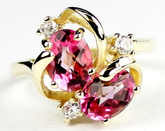 Pure Pink Topaz, 18Ky Gold Ring, R016